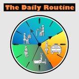 Plan illustration för vektor - livschema av den dagliga rutinen med prövkopiateckenofficeman på klockan vektor illustrationer