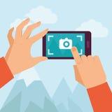 Plan illustration för vektor - mobilt fotografi royaltyfri illustrationer