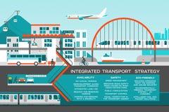 Plan illustration med stadslandskap Transportrörlighet och smart stad Beståndsdelar för design för diagram för information om tra vektor illustrationer