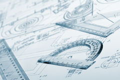 The plan industrial details, a protractor, ruler Royalty Free Stock Image