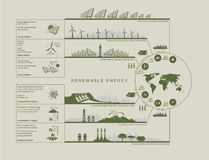 Plan infographics green color circuit renewable green energy Royalty Free Stock Image
