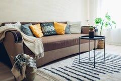 Plan inre av vardagsrum som dekoreras med korgar, växter och matta Soffa med kuddar och tabellen arkivbild