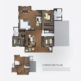 Plan interior de la disposición con muebles stock de ilustración