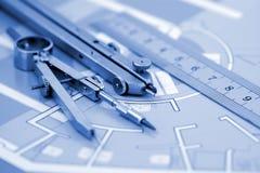 Plan of interior & work tools Royalty Free Stock Photos