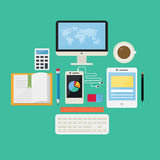 Plan internet för designbegrepp och E-lära symbolsvektorer Royaltyfria Bilder