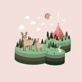 Plan isometrisk campa illustration för liv 3d Stock Illustrationer