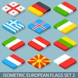 Plan isometrisk européflaggauppsättning 2 Royaltyfri Bild