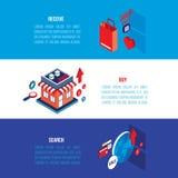 Plan isometrisk för e-kommers för modern design 3d online-shoppa uppsättning baner stock illustrationer