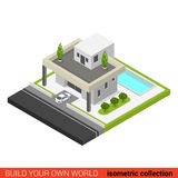Plan isometrisk för familjhus för vektor 3d byggnad för pöl för trädgård Arkivbild