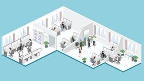 Plan isometrisk för golvinre för kontor 3d vektor för begrepp för avdelningar royaltyfri illustrationer