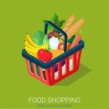 Plan isometrisk för livsmedelsbutikshopping för mat 3d infographics för rengöringsduk: vagn Arkivfoto