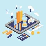 Plan isometrisk finansAnalytics för affär 3d, grafisk rapport för diagram Arkivfoton