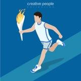Plan isometrisk flamma för fackla för idrottsmankörningshåll Stock Illustrationer