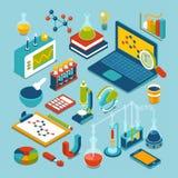 Plan isometrisk forskning för vetenskap 3d anmärker symbolsuppsättningen Arkivbilder