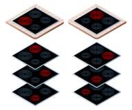 Plan isometrisk illustration av olika elektriska keramiska hobs Royaltyfri Illustrationer