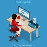 Plan isometrisk kvinnaarbetsplats för vektor 3d: sekreterareframstickande vektor illustrationer