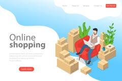 Plan isometrisk mall för vektorlandningsida av lätt shopping, e-kommers stock illustrationer