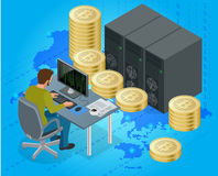 Plan isometrisk man 3d på datoronline-bryta bitcoinbegrepp Bitcoin som bryter utrustning Digital Bitcoin guld- mynt Arkivfoton