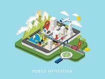 Plan isometrisk mobil illustration för navigering 3d stock illustrationer