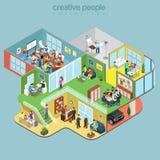 Plan isometrisk personal för kontorsinreavdelning stock illustrationer