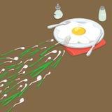 Plan isometrisk salladslökomelettvektor 3d Insem royaltyfri illustrationer