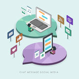 Plan isometrisk social begreppsillustration för massmedia 3d Royaltyfria Foton