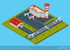 Plan isometrisk stilflygplatsbyggnad, hangar, landningsbana, flygplan Arkivfoto