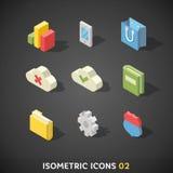 Plan isometrisk symbolsuppsättning 2 stock illustrationer