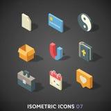 Plan isometrisk symbolsuppsättning 7 royaltyfri illustrationer