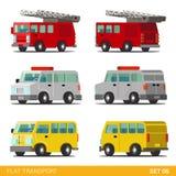 Plan isometrisk symbolsuppsättning för transport 3d: räddningstjänst Vektor Illustrationer