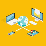 Plan isometrisk touchpad 3d (minnestavlan), PC, anteckningsbok, telefon med n Arkivbilder