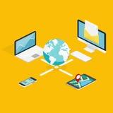 Plan isometrisk touchpad 3d (minnestavlan), PC, anteckningsbok, telefon med n Vektor Illustrationer
