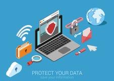 Plan isometrisk vektor för begrepp för skydd för data 3d infographic Royaltyfria Foton