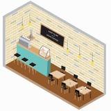 Plan isometrisk vektor för coffee shop 3d Arkivbilder