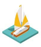 Plan isometrisk yacht 3d för den isolerade konstruktörn för stadsöversiktslopp vektor illustrationer