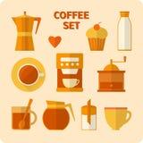 Plan kaffesymbolsuppsättning Arkivbilder