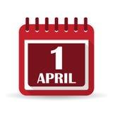 Plan kalenderappssymbol 1 dag för ` s för april dumbom stock illustrationer