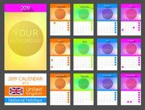 Plan kalenderdesign 2019 med Förenade kungariket nationella ferier vektor illustrationer