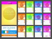 Plan kalenderdesign 2019 med Irland nationell ferie royaltyfri illustrationer