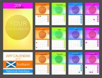 Plan kalenderdesign 2019 med Skottland nationell ferie stock illustrationer