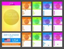 Plan kalenderdesign 2019 med USA nationell ferie royaltyfri illustrationer