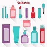 Plan kosmetisk symbolsuppsättning Royaltyfria Bilder
