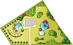 Plan of Landscape and Garden Stock Photo