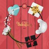 Plan lekmanna- bästa sikt för lyckligt baner för valentindag realistiskt vektor illustrationer