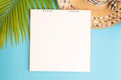 Plan lekmanna- fotomellanrumsanteckningsbok och kokosn?tblad och hatt p? bl? bakgrund, b?sta sikt och kopieringsutrymme f?r monta arkivbild