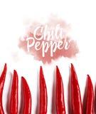 Plan lekmanna- modell för peppar för röd chili på vit bakgrund Top beskådar arkivbilder