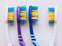 Plan lekmanna- sammans?ttning med manuella tandborstar p? vit bakgrund Tandborste och toothpaste den op sikten, l?genhet l?gger M arkivbild