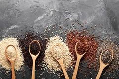 Plan lekmanna- sammans?ttning med olika typer av quinoaen p? svart bakgrund fotografering för bildbyråer