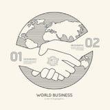 Plan linjär framgång för översikt för handskakning för Infographic världsaffär Royaltyfria Foton