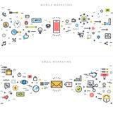 Plan linje designbegrepp för företags marknadsföring Fotografering för Bildbyråer